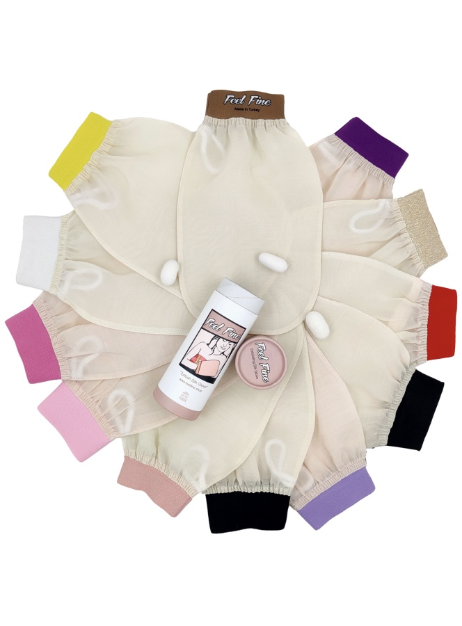 Raw cocoon silk bath gloves with different colors wristbands.